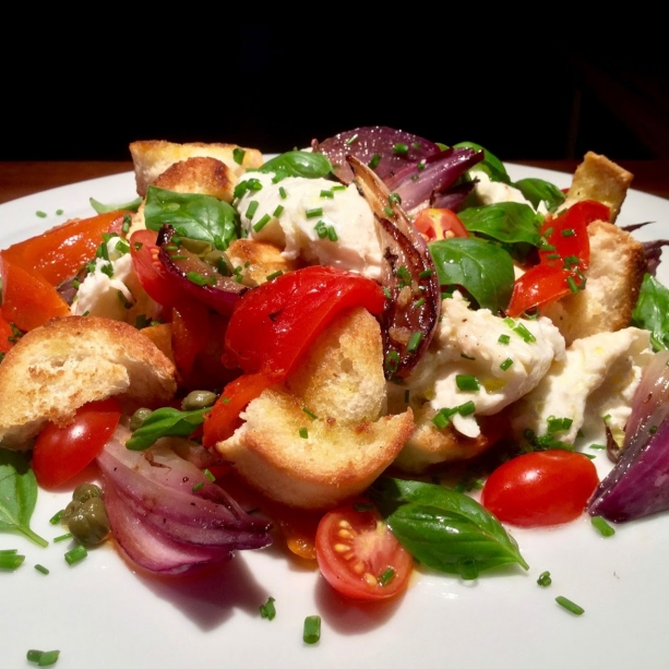 Panzanella with grilled peppers and mozzarella